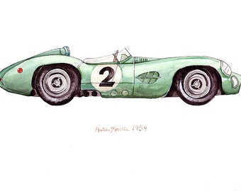 1959 Aston Martin, classic automobile watercolor print, 8x10""