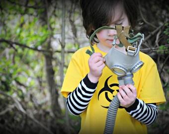 Caution Biohazard yellow kids t-shirt