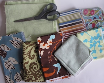 Vintage Quilting Craft Cotton and Flannel Fabric - green, blue, brown
