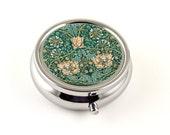 Honeysuckle Floral Pilll Box, William Morris Art Nouveau Floral Design in Peach and Green, Pill Organizer, Pill Holder, Travel Pill Box