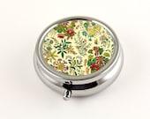 Victorian Flower Garden Pill Box, Vintage Floral Design in Sunny Yellow, Trinket Box, Pill Organizer, Travel Pill Case