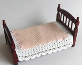 1:12 Scale Pink Single Bedspread Dollhouse Miniature Crocheted Bedspread with White Trim Dollhouse Artisan Handmade MiniatureJoy