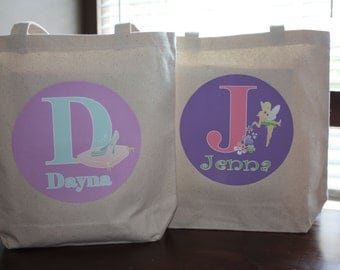 Set of 2 - Large Personalized Tote Bags