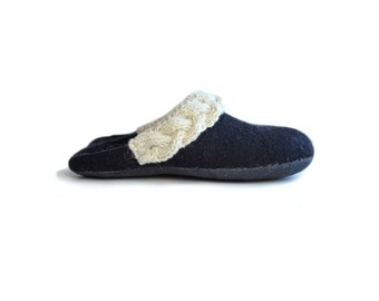 Handmade wool felted slippers with woolen knitwear - house shoe - black - white