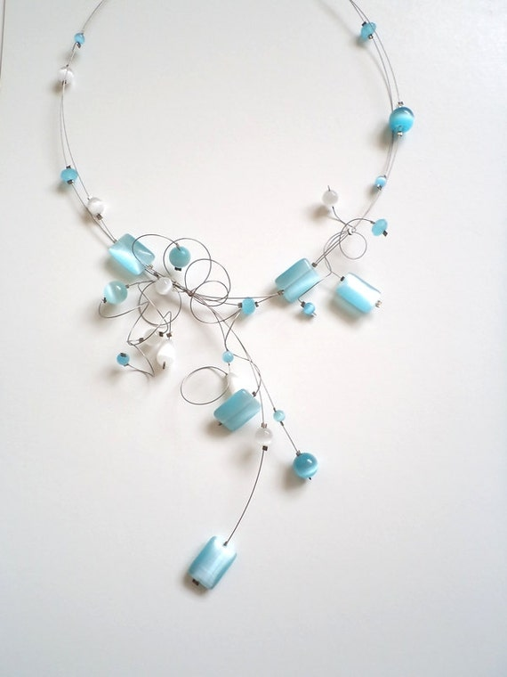 Light blue and white Cats Eye  Necklace, Illusion Necklace, Delicate necklace