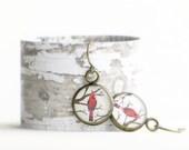 RED CARDINAL EARRINGS - Red White Bronze Jewelry Cardinal Bird Gift Grandmother Mom
