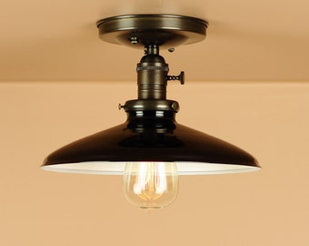 Semi Flush Lighting w/ 10 inch Black Porcelain Enamel Shade - Oil Rubbed Bronze / Satin Nickel - Down Rod Option