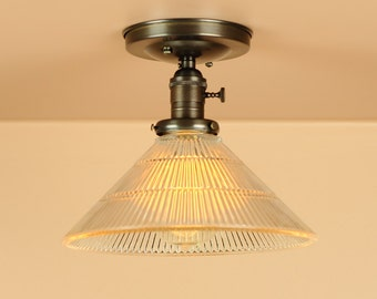 Semi Flush Light  w/ Holophane Style Glass Shade - Oil Rubbed Bronze -  Lighting for Low Ceilings - Downrod Option