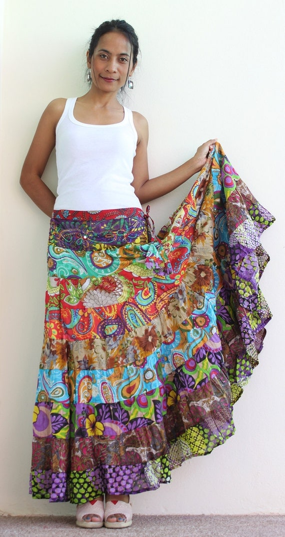Boho Maxi skirt Long hippie skirt  Boho Patchwork