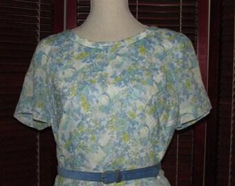 Vintage Betty Hartford Blue Floral Pattern Summer Dress, Vintage Clothing, Belted Dress, Vintage Dress, Fifties Dress, 1950's Dress