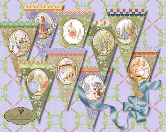 EASTER PETER RABBIT Garland - Printable Vintage Pennants Digital Sheets Paper Goods Banner Flags Bunting