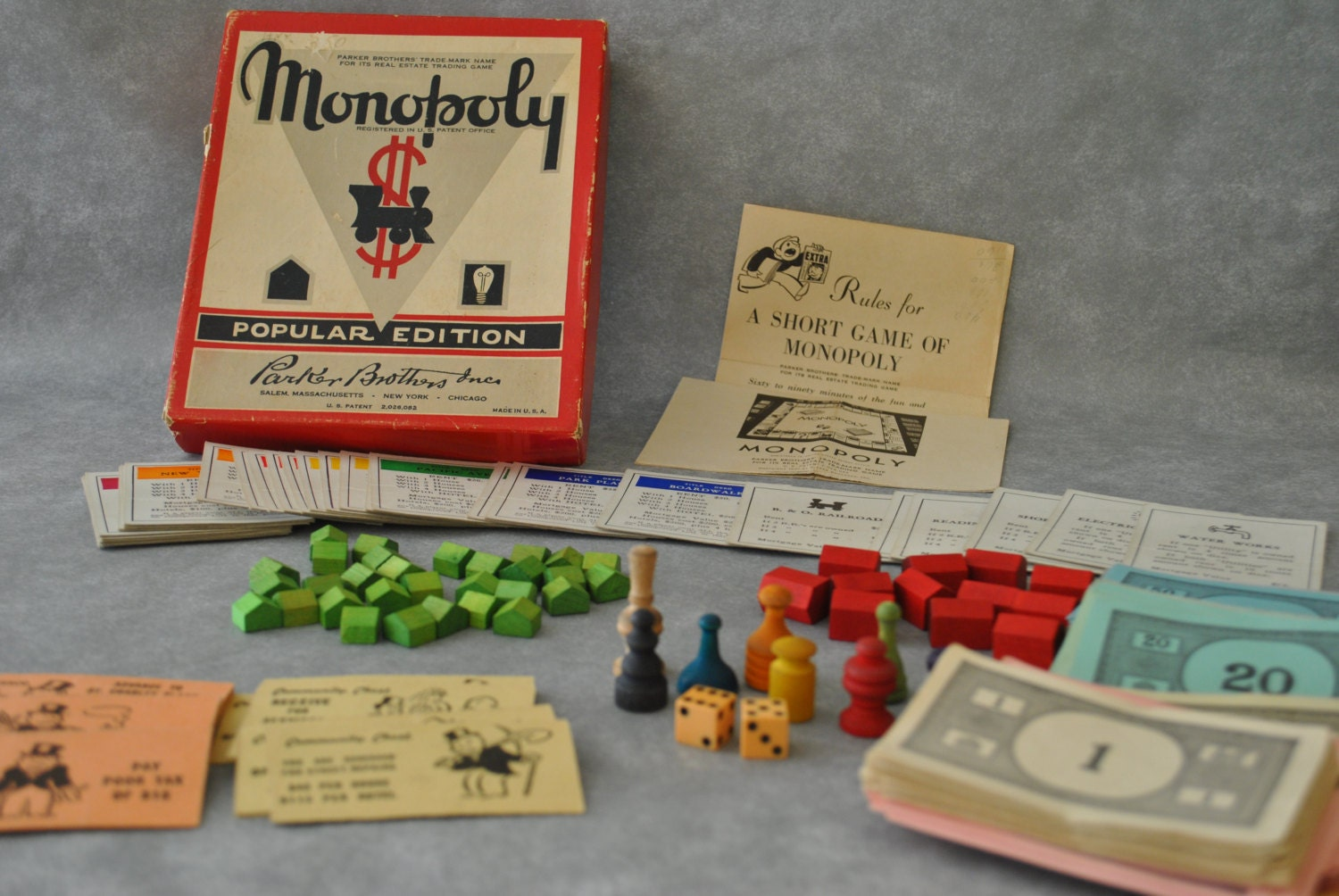Vintage Monopoly Popular Edition Game Parker Brothers Wood