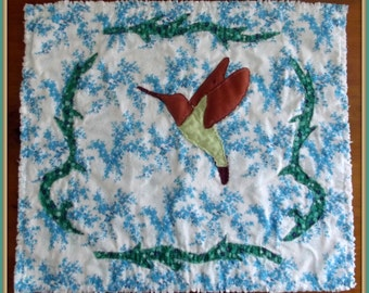 "Applique Mini Quilt Pattern, ""Hummingbird"""