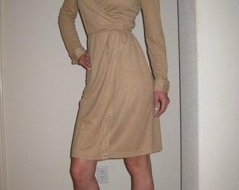 Camel Micro Suede Wrap Dress Size 4