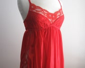 Vintage Red Lace Maxi Slip Size Small