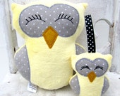 Plush Owl Set With Rattle -- Yellow Gray Polka Dot -- Baby Toy -- Stuffed Animal