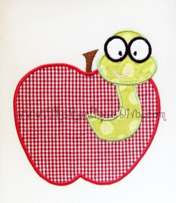 Back to School Apple with Worm Embroidery Design Machine Applique
