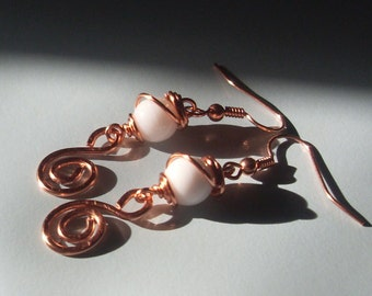 Vanilla Swirl Copper Dangles