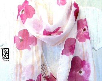 Hand Painted Silk Scarf. Purple Floral Scarf, Claret Purple Poppies Scarf. Fall Fashion. Purple Silk Scarf. 10x54 in. Made to Order.