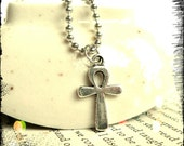 Buy 2 or more get 15% off -- Egyptian Ankh Antique Silver Pendant Charm Ball Chain Necklace
