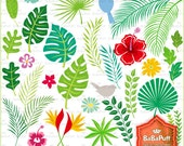 Instant Downloads, Digital Tropical Leaves and Birds Clip Art, For Your Handmade Crafts Projects. Personal and Small Commercial Use. BP 0750