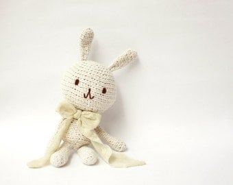 Natural Cotton Crocheted Amigurumi Bunny Rabbit, Eco friendly Cotton Doll made from 100% Unbleached Cotton Yarn - MADE TO ORDER