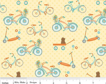 SALE - Dress Up Days - Bikes yellow by Doohikey Designs from Riley Blake