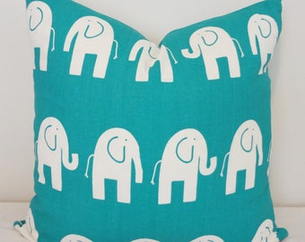 Decorative Pillow Turquoise & White Elephant Nursery Baby Pillow Covers 18x18