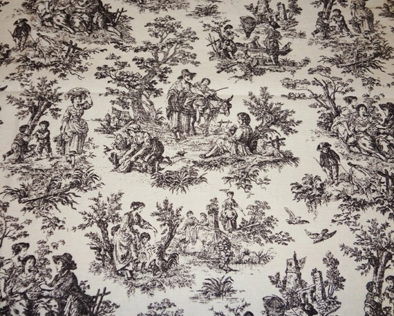 Shower Curtain Waverly Rustic Life Toile Black/Ivory Size