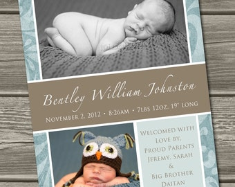 Baby Boy Birth Announcement (Digital File) William - I Design, You Print
