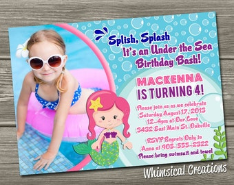 Under the Sea Birthday Invitation (Digital File) Mermaid Birthday Invitation - I Design, You Print