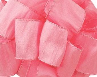 "Wired Ribbon, 2 1/2"",  Pink Faux Silk - SEVEN YARDS  - Offray Ribbon ""Anisha"" #70239 Pretty Pink Flamingo Wedding Wire Edged Ribbon"