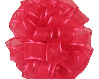 "SALE! Hot Pink Wired Ribbon, 1 1/2"", Sheer with Satin Edge - THREE YARD Roll - Offray ""Arabesque #200"" Shocking Pink, Wire Edged Ribbon"
