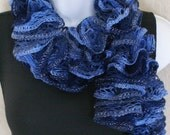 Ruffle lace soft scarf hand knit multicolored Blue Navy with silver shiny