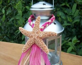 Beach Wedding Decor, Small Starfish Lantern Hangers, Destination Wedding Decor, Raffia Hanger