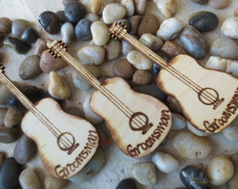 Rustic Wedding Decorations Lapel Pins for Groom Groomsman Best Man Father of the Bride Groom Ring Bearer Wood Guitar Boutonniere SET of 3