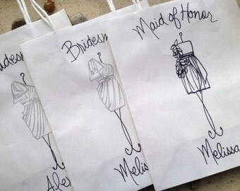 Set of 8 Favor Shopping Bags for Bridesmaids Match YOUR Dress and Color Maid of Honor Bridesmaid Gifts Flower Girl