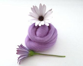 Lilac Merino Wool Roving, Wool Roving, Felting Wool, Roving, Needle Felting, wet felting wool, nuno felting wool, spinning wool, wool roving
