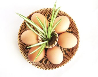 Egg serving plate Hand woven wicker basket Eco home decor Rustic table centerpiece Breakfast dish Easter gift