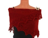Deep red/ Burgundy/ Triangle Handknit lace shawl