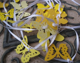 15 Foot Butterfly Garland In YELLOWS. On White Ribbon. Wedding, Shower, Decoration. Custom Orders Welcome.