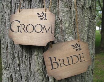 BRIDE & GROOM Wood Signs. Chair, Wedding Decoration. Handpainted.