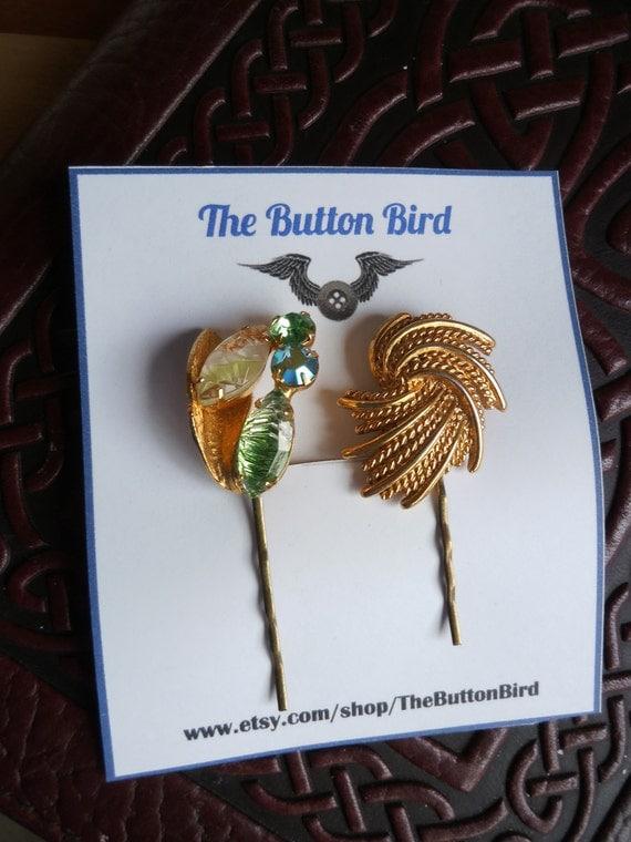 Emerald Rhinestone Bobby Pins, Bridal Hair Pins