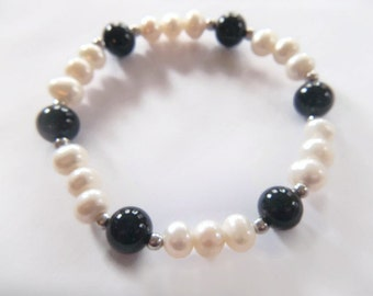 White Pearl Black Obsidian Sterling Silver Bracelet