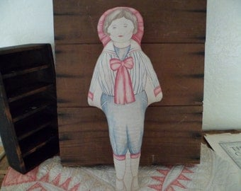 antique primitive doll , cut and sew printed cloth , stuffed doll