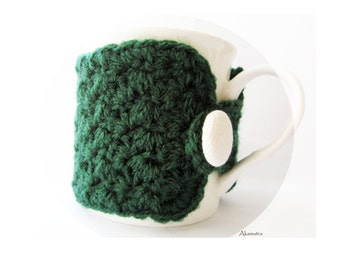 Crochet mug cozy, green cup cozy, coffee cup cozy, hostess gift, crochet coffee cup warmer, coffee mug sleeve, crochet cup sleeve, for home