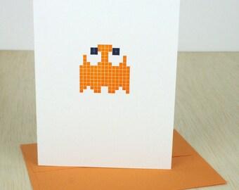 Pac-Man Letterpress Card - Clyde - Orange Ghost