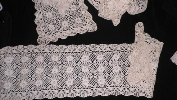 vintage ecru crocheted runners bureau scarves by