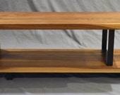 Modern Solid Walnut and powder coated steel ribbon coffee table