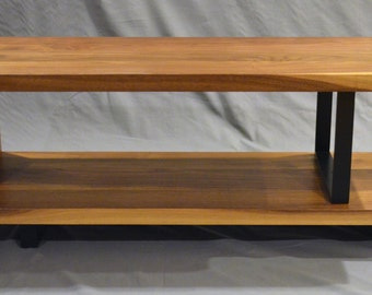 Modern Solid Walnut and powder coated steel ribbon entertainment stand